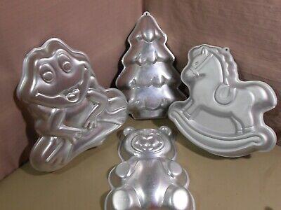 4 Vintage WILTON Cake Pans Frog Bear Rocking Horse Christmas Tree