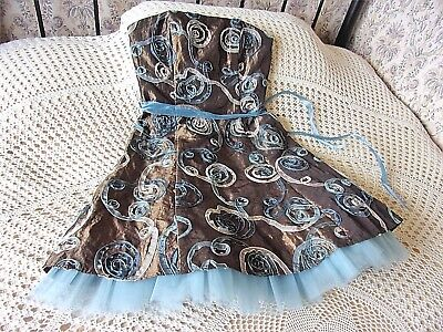 Brown crinkled shimmer party dress by JESSICA McCLINTOCK Size 10 With appliqué