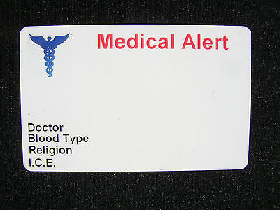 MEDICAL ALERT CARD ID INFORMATION EMERGENCY CONTACT CUSTOMIZED FOR YOU!! - Medical Information Cards