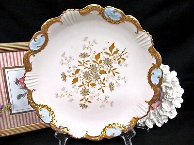 LIMOGES FRANCE charger plate gold gilt raised cameo in blue edges stunning beads