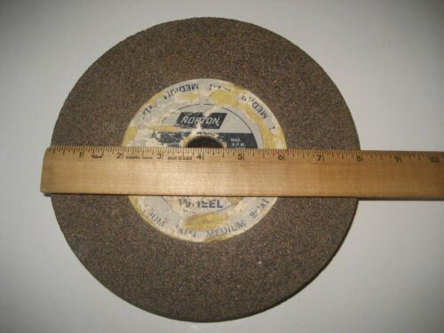 "Norton Grinding Wheel 8"" width x 1"" thick x 1"" center hole Medium 80-100 Grit"