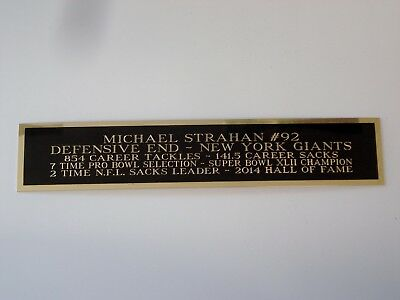 Michael Strahan Nameplate For An Autographed Football Jersey Case 1.5 X 6