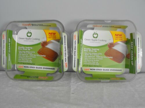 (2) Nami Green Apple Cooking Non Stick Ovenware Baking Dish 8 x 8