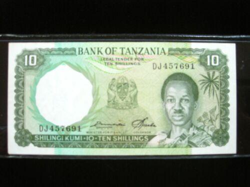 TANZANIA 10 SHILLINGI 1966 P2 AU+ SHARP 691# WORLD CURRENCY MONEY BANKNOTE
