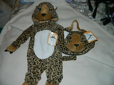 Pottery Barn Kids Halloween Leopard Costume with Matching Bag 0-6 Mos NWT PBK](Kids Matching Halloween Costumes)