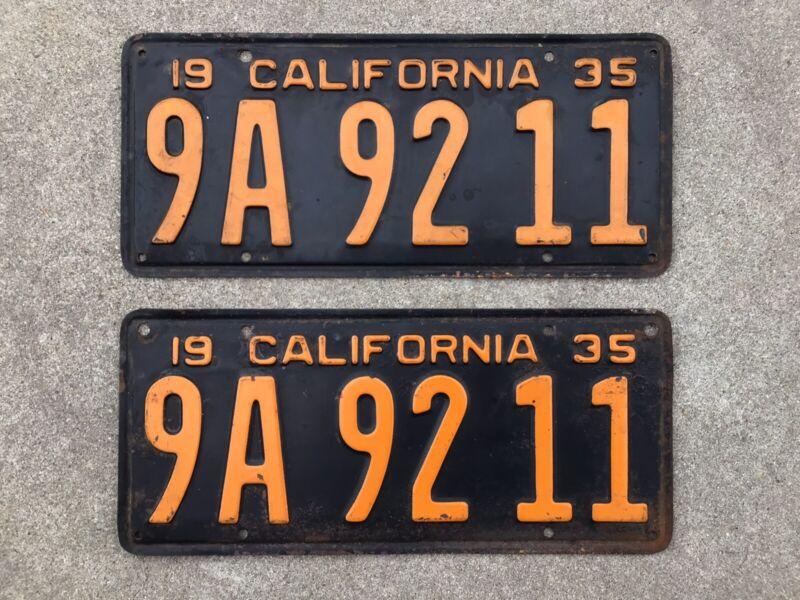 (2) - MATCHING PAIR 1935 CALIFORNIA LICENSE PLATES