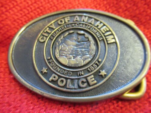 City of Anaheim Police Department belt Buckle Vintage? Small size Solid Brass