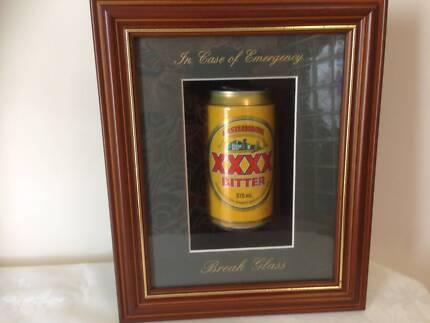 NOVELTY BAR DISPLAY FRAMED XXXX CAN BEHIND GLASS