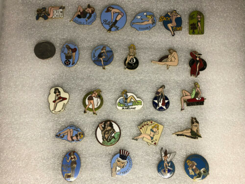 United States Air Force Nose Art Pin Lot (24) Brass USA Clutch Backs