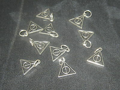 WHOLESALE LOT OF 10 -12MM HARRY POTTER DEATHLY HALLOWS WIZARD USA CHARM PENDANTS