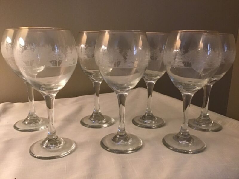 Libbey Christmas Winter White Frosted Pine Trees Goblets Glasses Arby