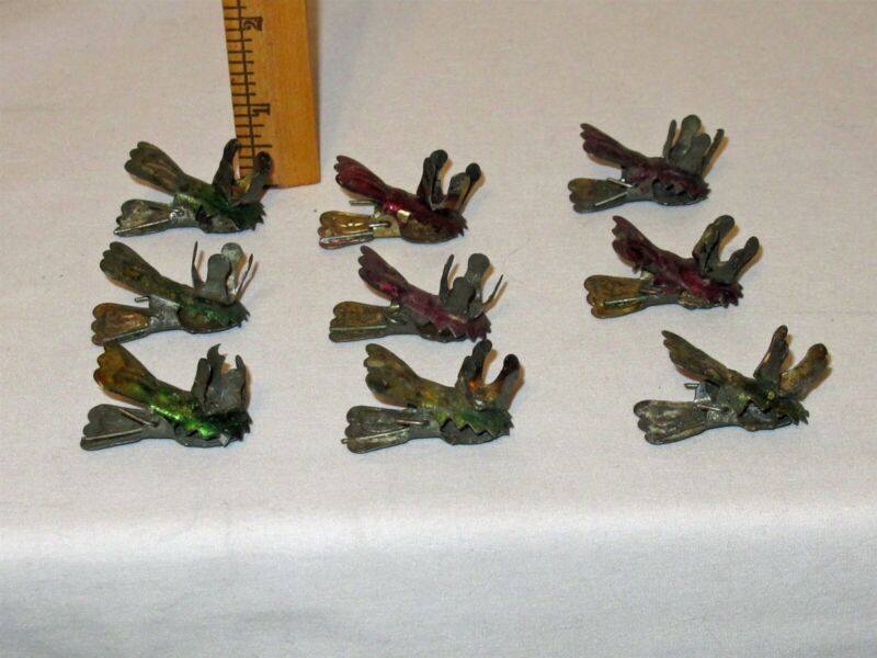 Vtg Lot 9 Christmas Tree Embossed Acorn Metal Clip On Candle Holders red & green