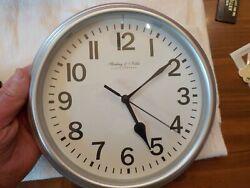 Sterling & Noble 8.78 in. Diameter Quartz Wall Clock Analog Display SLVR Finish