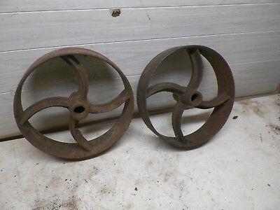 Pair Old Iron Wheels For Engine Cart Etc. 13 Diameter