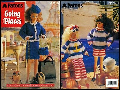 DOLL CLOTHES KNITTING PATTERN BOOKLET  10 JET SETTING OUTFITS FOR FASHION DOLLS