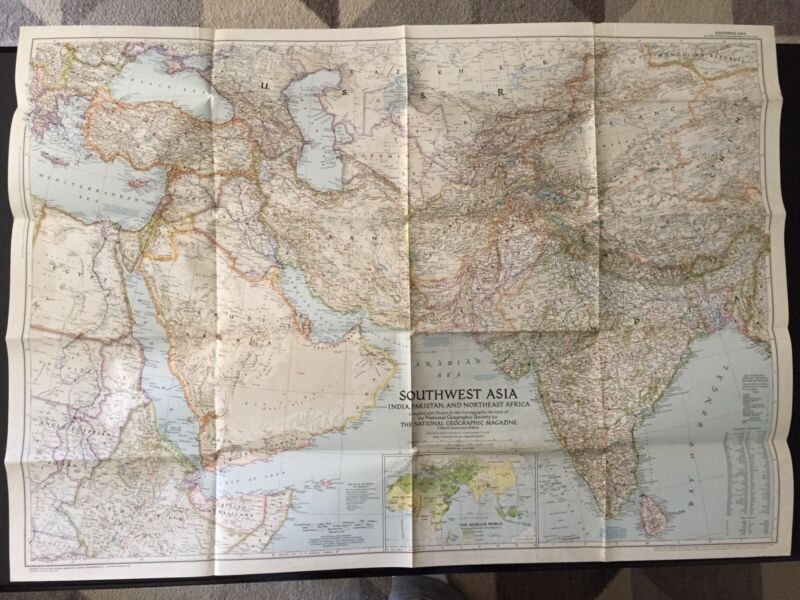 Vintage 1952 National Geographic Society Map of Southwest Asia
