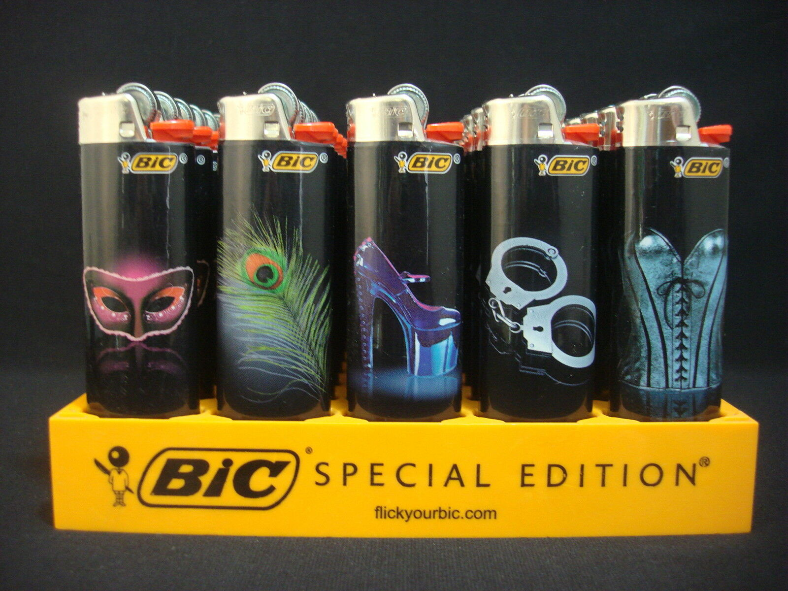 7 Bic Lighters Fantasy Masquerade Feather Heels HandCuffs Co