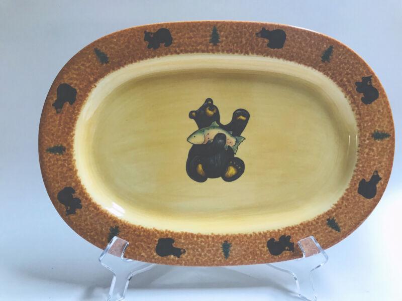 "Bearfoots 11"" Oval Serving Platter Big Sky Carvers by Jeff Fleming Bear Trout"