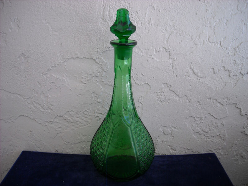 EAPG Tiny Finecut Wine Decanter  Green