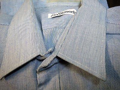Hemd 40, DeSigners, weiß-blau, feine Streifen, Größe M, Vintage