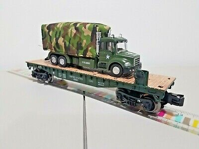 Menards ~ O Gauge ARMY Flatcar with Military Cargo Truck  Mth Lionel Compatible