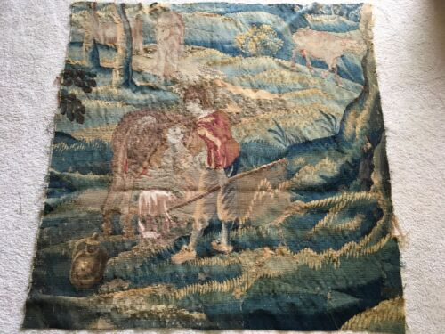 Antique French Aubusson Woven Tapestry Fragment Chateau c 17th-18thChildren Cows