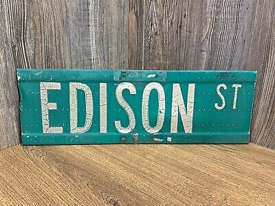 Vintage Decommissioned Road Sign Edison St Actual 2 Sided Retired Street Sign B8