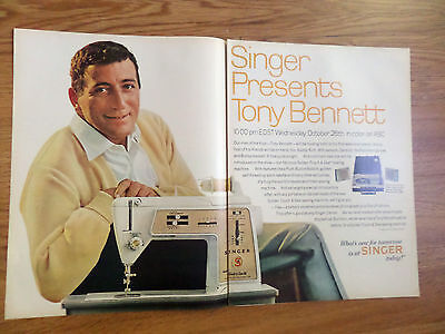 1966 Singer Sewing Machine Ad Touch & Sew Singer Tony Bennett