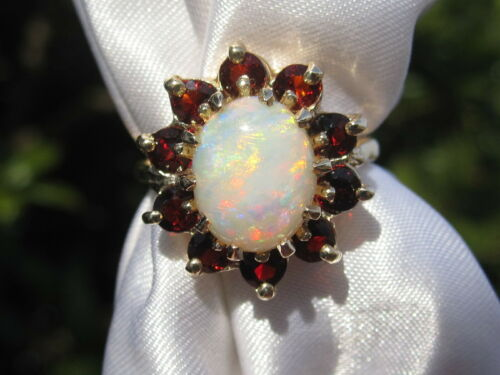 Opal Ring Estate Garnet 14K Yellow Gold Oval Cabochon Halo Retro Period Vintage