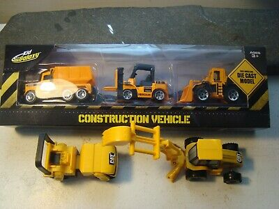 Kid Galaxy construction die cast small vehicles 3 pack + 2 plastic CAT tractors