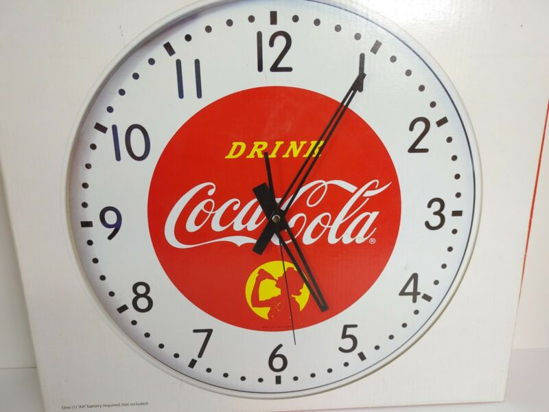 Coca Cola Metal Wall Clock Lady Drinking A Bottle. New