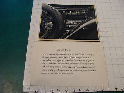vintage Original auto dealership photo: close up car engine & hand written card