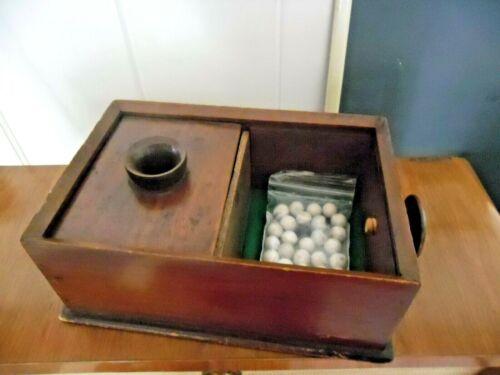 VINTAGE BLACK BALL VOTE BOX ODDFELLOW MASONIC FREEMASON WITH CLAY MARBELS