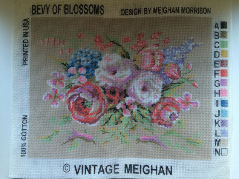 "Needlepoint Tapestry Canvas Flowers Bevy of Blossoms 14"" x 18"" Vintage Meighan"