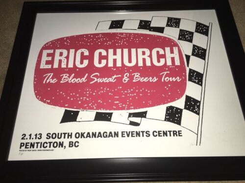Eric Church Concert Poster Penticton, BC 2-1-13 Blood Sweat Beers Tour RARE  - $65.00