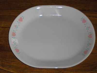 Corelle Corning Forever Yours Oval Serving Platter Peach Hearts