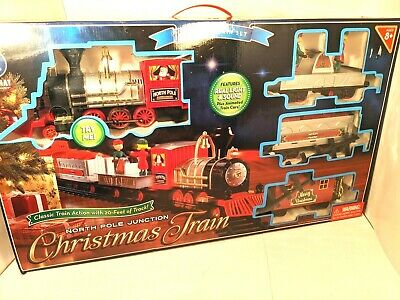 Blue Hat North Pole Junction Christmas Classic Animated Lights Sound Train Set