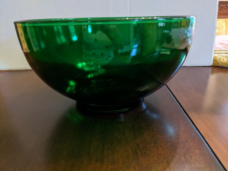 "Vintage Anchor Hocking Forest Green 10"" Bowl"