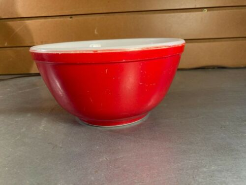 Vintage Pyrex Red Glass Mixing Bowl- #402