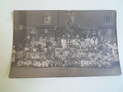 Kids Union Jack Dress (Old RPPC Large Group Mainly Children Fancy Dress With Union Jack Bunting )