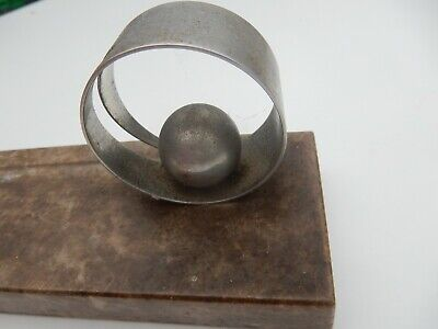 UNUSUAL ART DECO -ALUMINIUM BALL AND CIRCLE  ON BROWN MARBLE BASE  PHOTOGRAPH