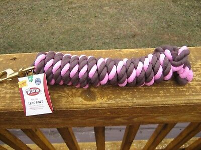WEAVER PINK AND BROWN 10' COTTON LEAD ROPE WITH GOLD BRASS SNAP HORSE TACK