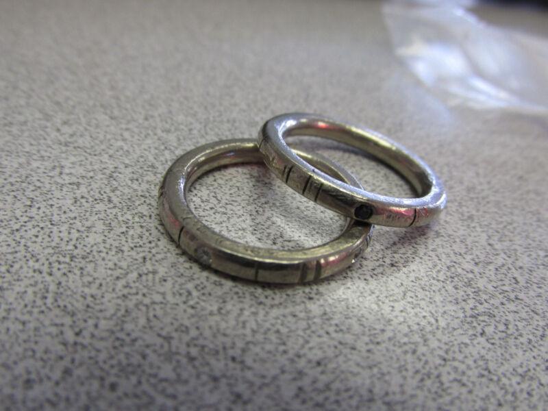 Two  18k White Gold Designer Diamond & Sapphire Ring Bands Size 8    Make Offer