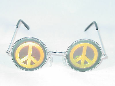 1 PEACE SIGN MULTI-COLOR SILVER METAL ROUND FRAME HOLOGRAM SUNGLASS UV400 UNISEX