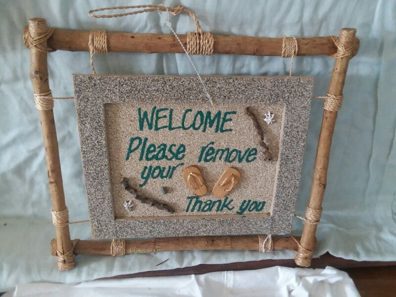 Vintage Handcrafted Hawaiian Remove Your Slippers Sign