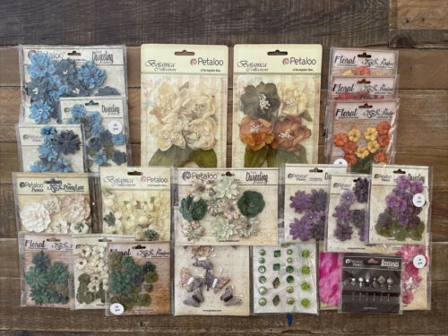 Petaloo Accents~ Botanical~ Brads ~Embellishments ~Feathers~ Floral  Bundle