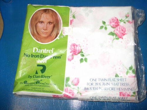 DANTREL VINTAGE FLOWER PINK TWIN FLAT SHEET FLOWERS FLORAL NEW