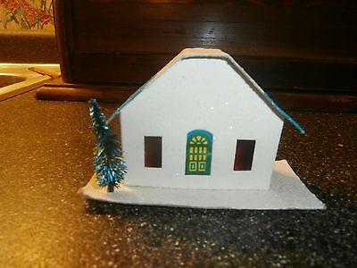 vintage cardboard christmas house for miniature village japan