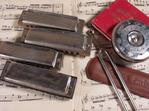 VTG harmonica & tuners lot: Hohner Germany Special20 Blues Harp Chicago Blues