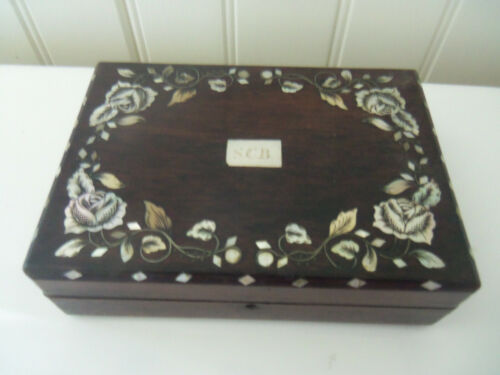 Fine Antique Dark Wood Mother of Pearl Inlaid Box